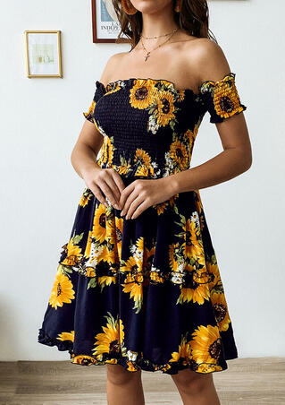 Sunflower Ruffled Off Shoulder Mini Dress without Necklace-  - Navy Blue