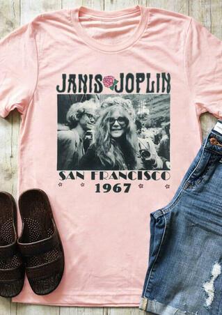 Janis Joplin San Francisco 1967 T-Shirt Tee - LightPink