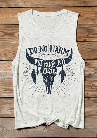 Do No Harm But Take No Bull Tank - White