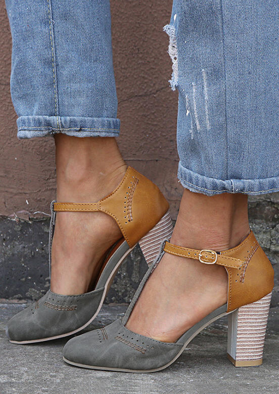 T-Strap Round Toe Heels – Gray