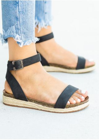 Solid Buckle Strap Sandals - Black