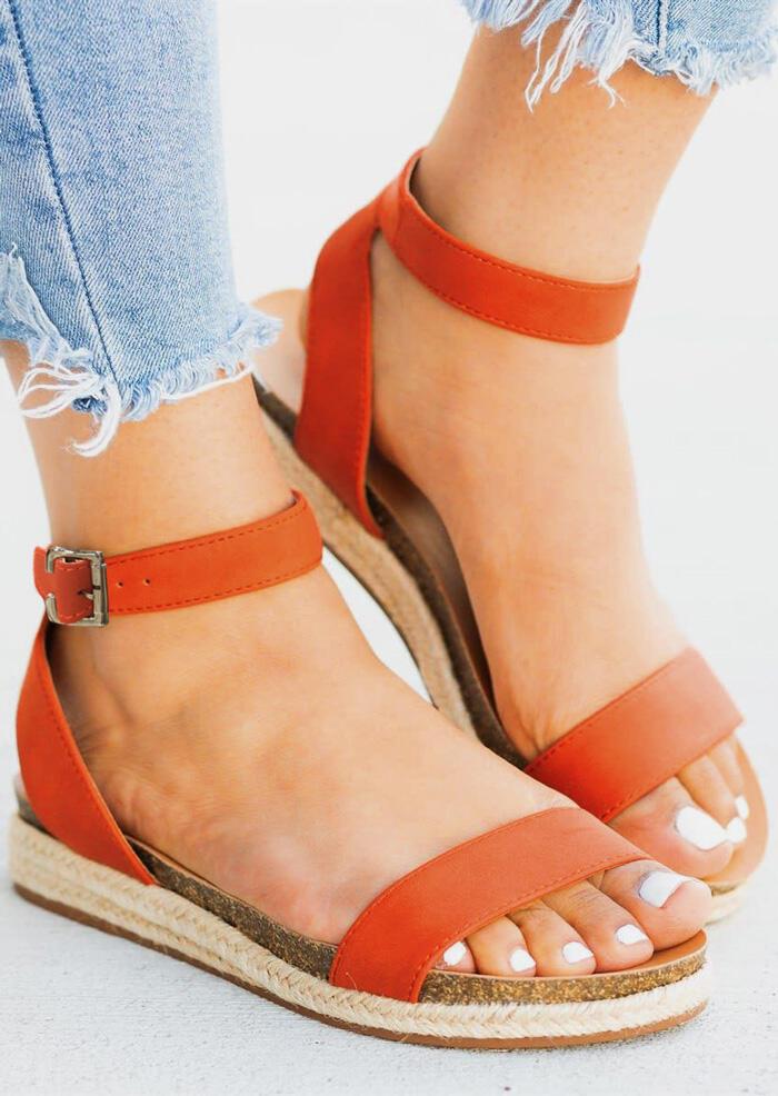 Solid Buckle Strap Flat Sandals – Orange