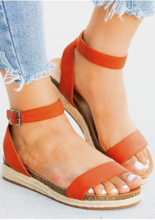 Solid Buckle Strap Flat Sandals - Orange
