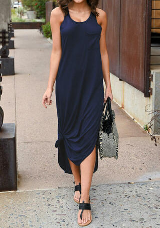 Solid O-Neck Sleeveless Pocket Maxi Dress - Navy Blue