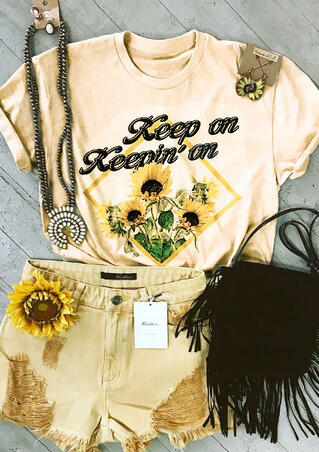 Keep On Keepin' On Sunflower T-Shirt Tee - Cream