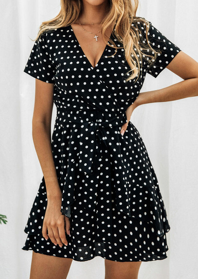 Polka Dot Layered Mini Dress without Necklace – Black