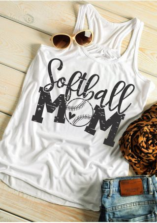 Softball Mom O-Neck Tank - White