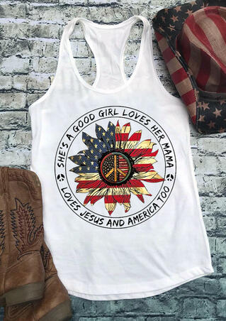 Sunflower She's A Good Girl Loves Her Mama Tank - White