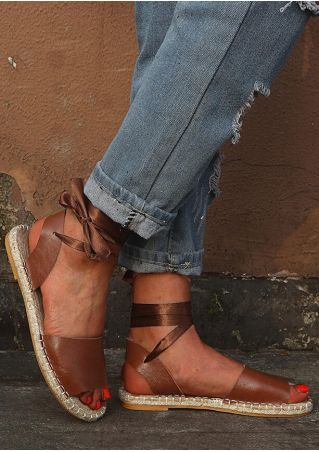 Solid Ankle Wrap Flat Sandals - Brown