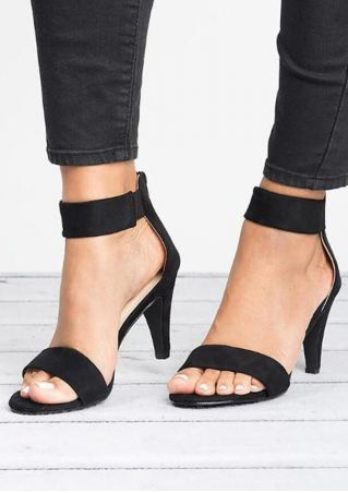 Solid Zipper Ankle Strap Heeled Sandals - Black