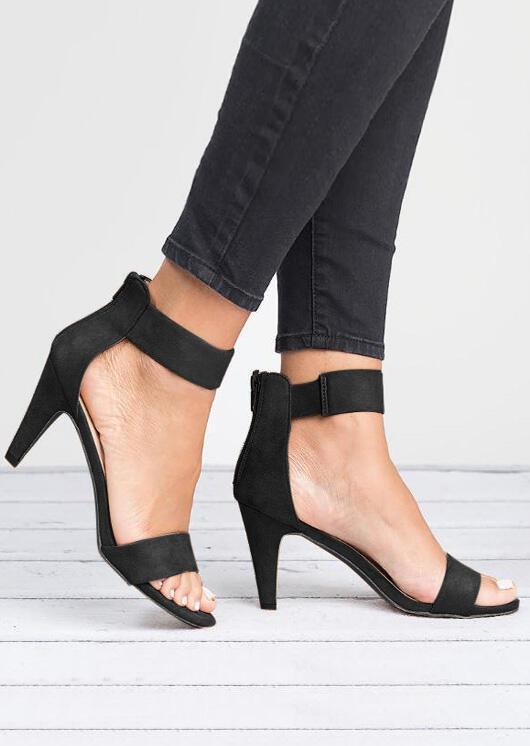 Solid Zipper Ankle Strap Heeled Sandals - Black