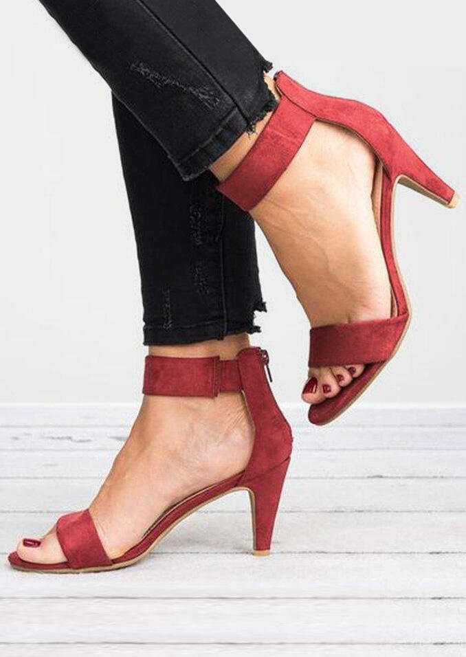Solid Zipper Ankle Strap Heeled Sandals - Red