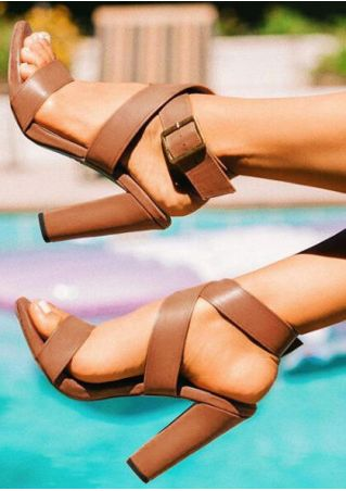 Solid Buckle Strap Heeled Sandals -Brown