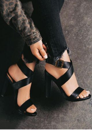 Solid Buckle Strap Heeled Sandals - Black