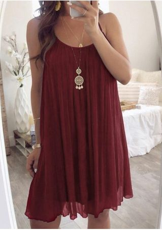 Solid Sleeveless Mini Dress without Necklace - Burgundy