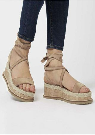 Solid Ankle Wrap Wedge Sandals - Apricot