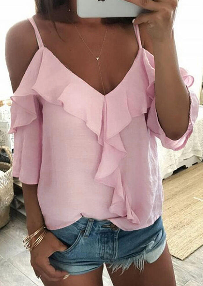 Solid Ruffled Cold Shoulder V-Neck Blouse without Necklace – Pink