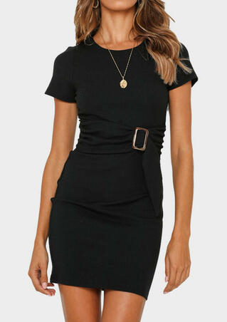 Solid Knitted Bodycon Dress without Necklace - Black