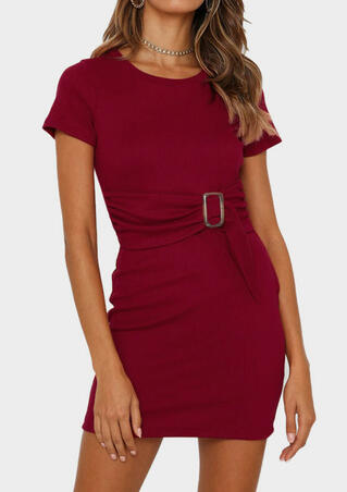 Solid Knitted Bodycon Dress without Necklace - Burgundy