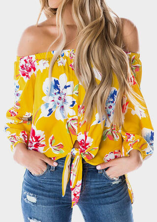 Floral Off Shoulder Tie Blouse - Yellow