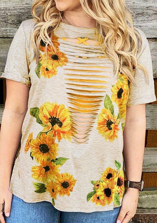 Sunflower Hollow Out T-Shirt Tee - Flesh
