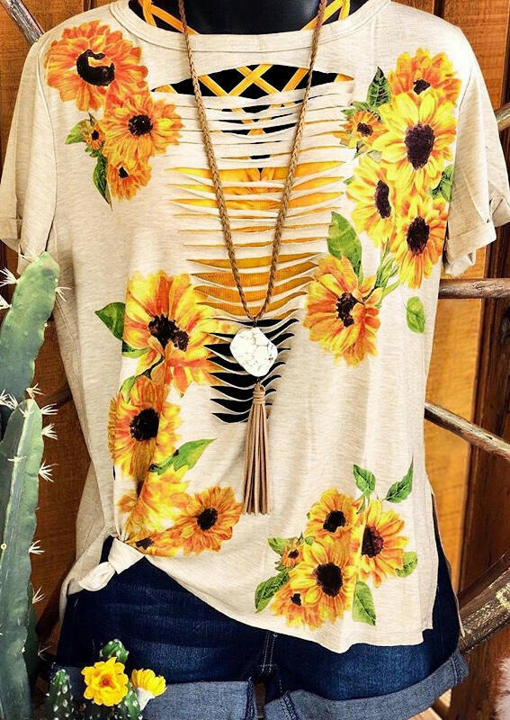Tees T-shirts Sunflower Hollow Out T-Shirt Tee - Flesh. Size: S,M,L фото