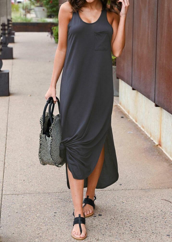 Solid O-Neck Sleeveless Pocket Maxi Dress - Dark Grey фото