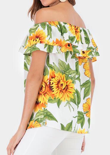 7b87d98d6192 Sunflower Off Shoulder Blouse - Multicolor - Fairyseason