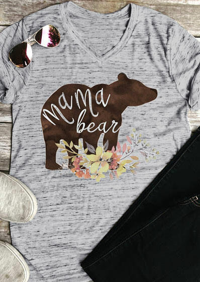 Tees T-shirts Floral Mama Bear V-Neck T-Shirt in Gray. Size: S,M,L,XL фото