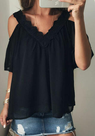 Solid Ruffled Cold Shoulder Blouse without Necklace - Black