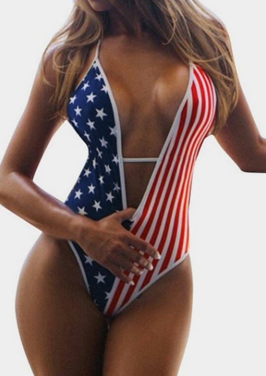 American Flag Backless One-Piece Swimsuit