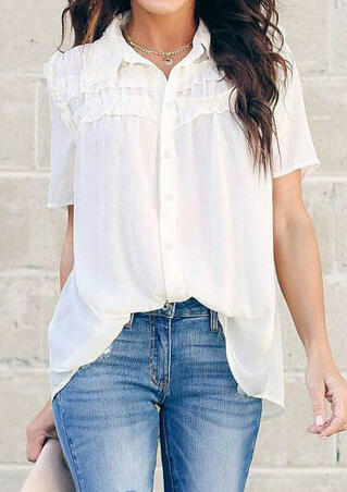 Solid Ruffled Button Shirt without Necklace - White