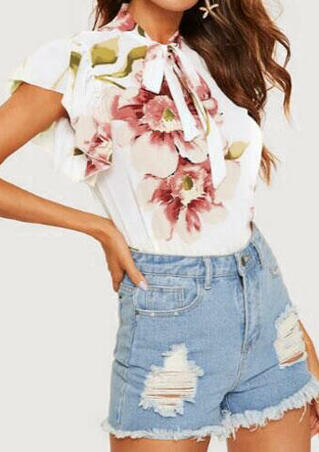 Floral Tie Short Sleeve Blouse - White