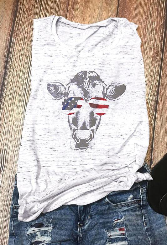 Cattle American Flag Glasses Tank – Light Grey