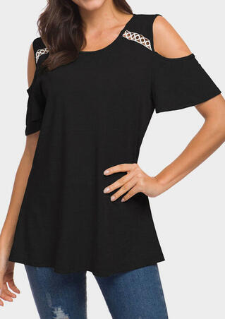 Hollow Out Cold Shoulder Blouse - Black