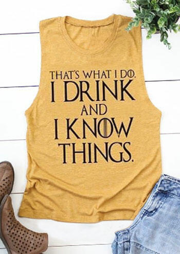 I Drink And I Know Things Tank - Yellow фото