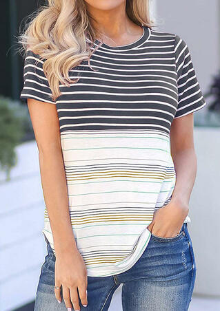 Striped O-Neck T-Shirt Tee - Stripe