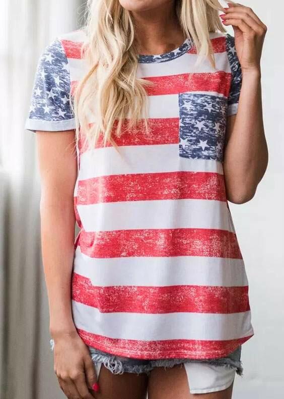 American Flag Pocket Short Sleeve T-Shirt - Fairyseason