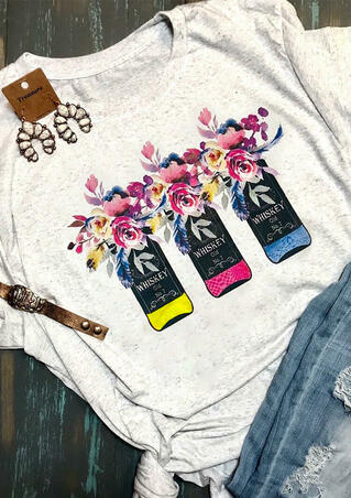 Floral Printed Whiskey T-Shirt Tee - Light Grey