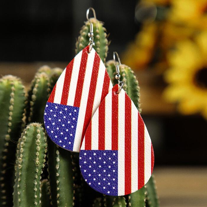 Earrings American Flag Printed Earrings - Red. Size: One Size