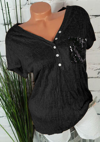 Sequined Button Pocket Blouse - Black
