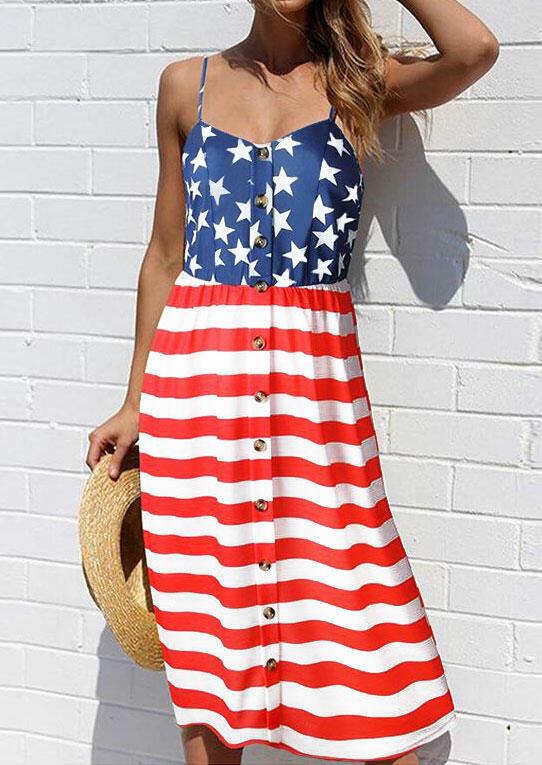 American Flag Button Sleeveless Casual Dress - Stripe