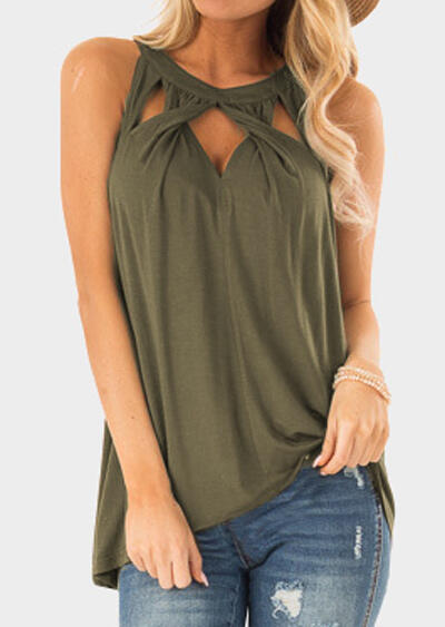 Solid Halter Criss Twist Hollow Out Tank - Army Green