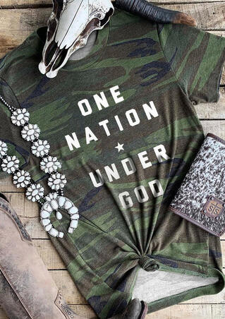 One Nation Under God T-Shirt Tee - Camouflage