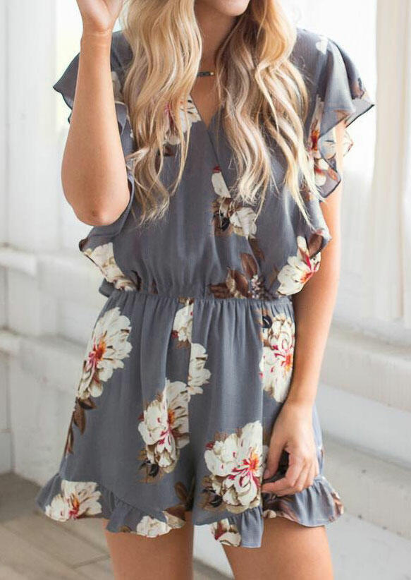 Floral Ruffled V-Neck Romper without Necklace – Gray