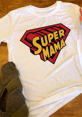 Super Mama O-Neck T-Shirt Tee - White