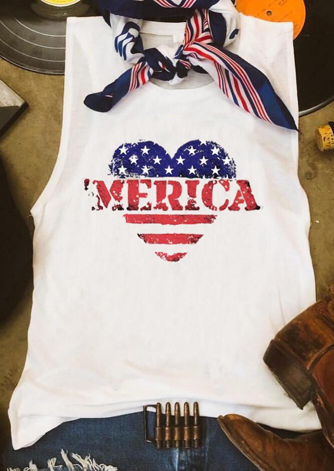Heart American Flag Tank – White