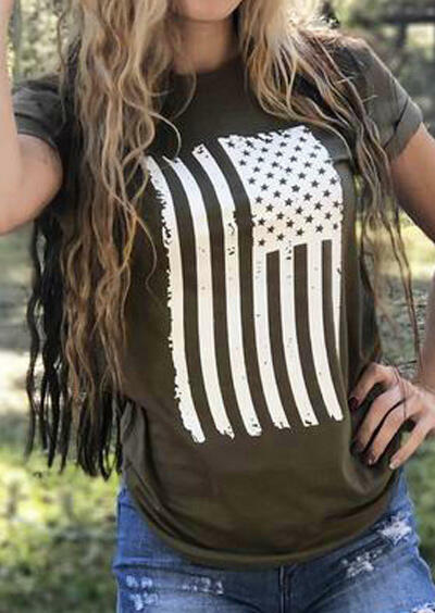 Tees T-shirts American Flag O-Neck T-Shirt Tee in Army Green. Size: S,M,L,XL,2XL,3XL фото