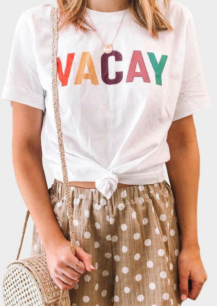 Vacay O-Neck T-Shirt Tee without Necklace – White