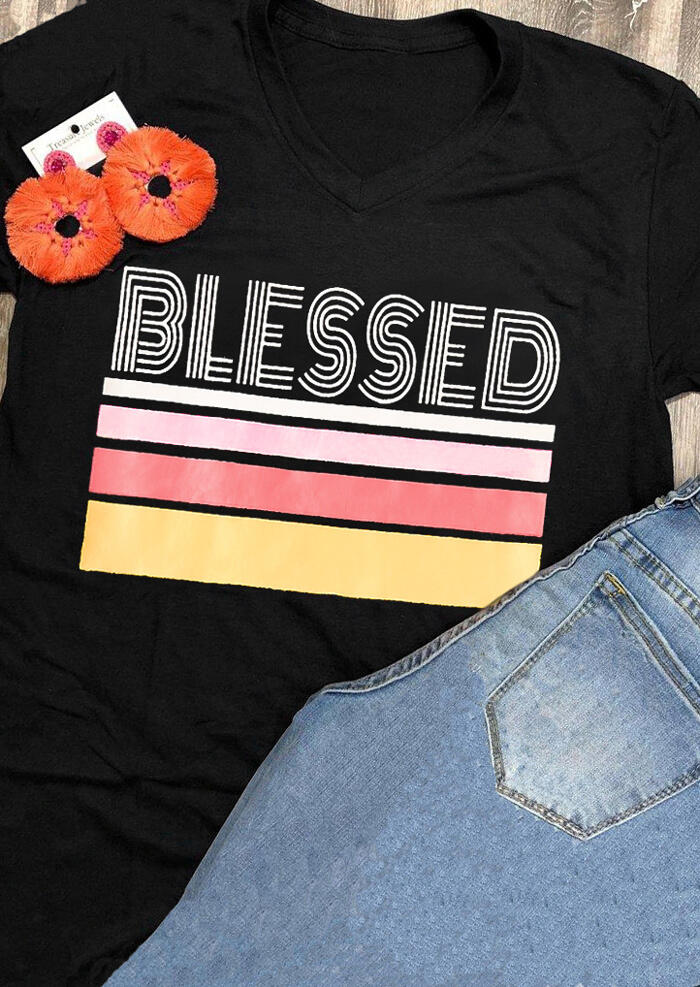 Striped Blessed T-Shirt Tee – Black